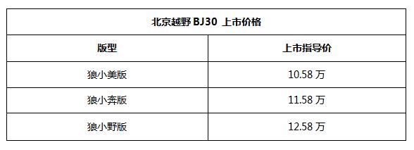 """北京越野""""小战狼""""BJ30正式上市,指导价10.58-12.58万"""